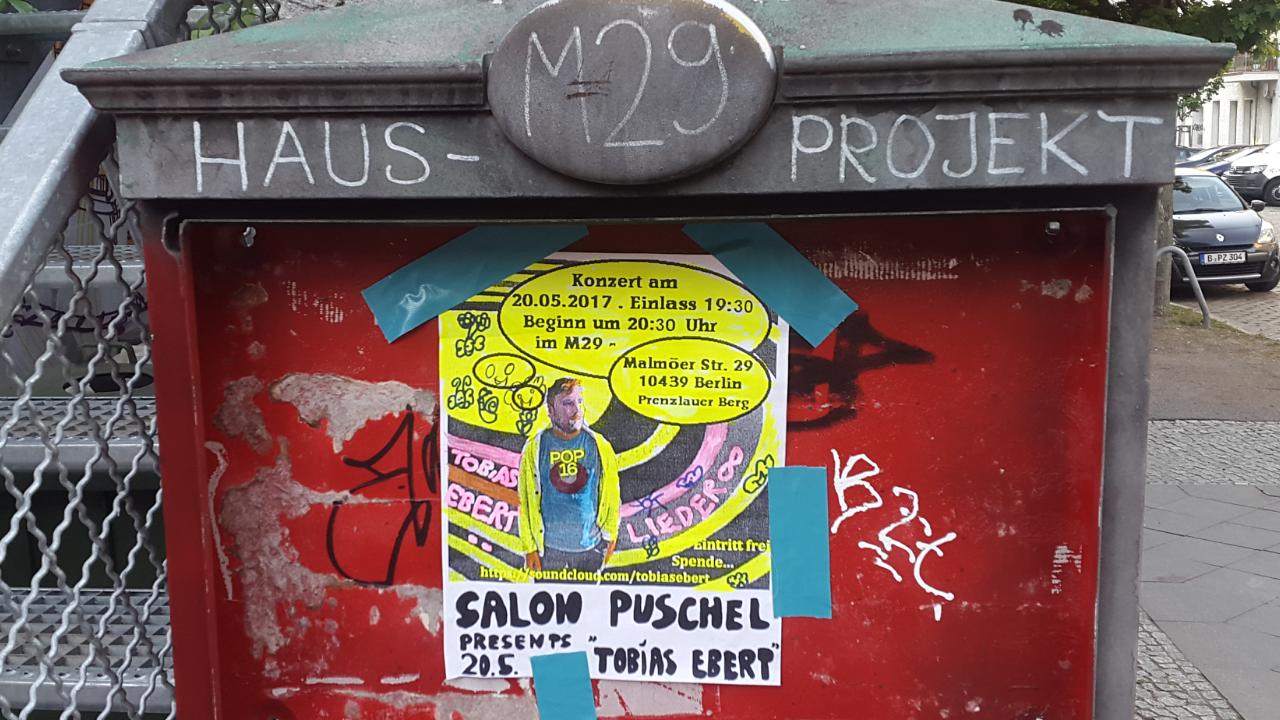 20.5. Konzert im Projektraum der M29: Tobias Ebert